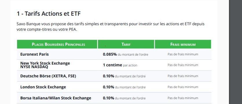 Le courtier Saxo Banque propose des tarifs très intéressants sur les actions